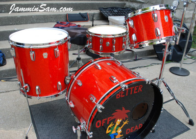 Photo of Stewart Surgener's Ludwig drums with Super Tangerine Glass Glitter drum wrap (5)