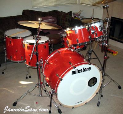 Photo of Dan Hertlein's drums with Tangerine Glass Glitter drum wrap (1)