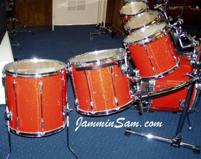 Photo of Eric Liggitt's drum set with Tangerine Glass Glitter drum wrap (1)