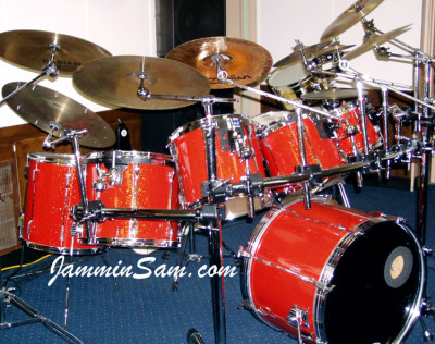 Photo of Eric Liggitt's drum set with Tangerine Glass Glitter drum wrap (3)