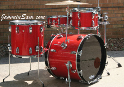 Photo of Gary Swaggerty's Ludwig drumset with Tangerine Glass Glitter drum wrap