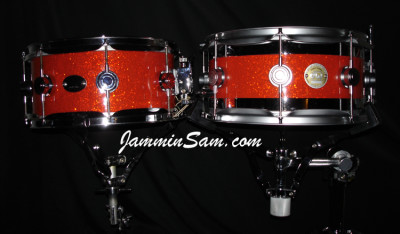 Photo of Keith Mikami's DW snares with Tangerine Glass Glitter drum wrap (1)