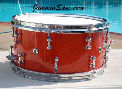 Photo of Paul Sirianni's custom drum with Tangerine Glass Glitter drum wrap (1)