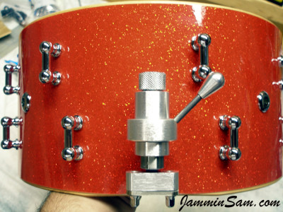 Photo of Paul Sirianni's custom drum with Tangerine Glass Glitter drum wrap (3)