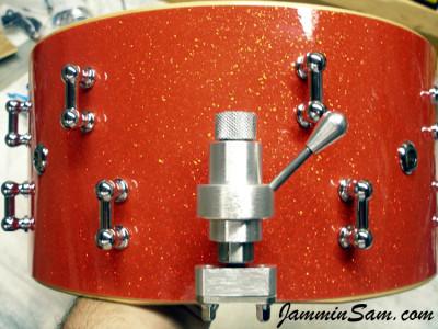 Photo of Paul Sirianni's custom drum with Tangerine Glass Glitter drum wrap (3)