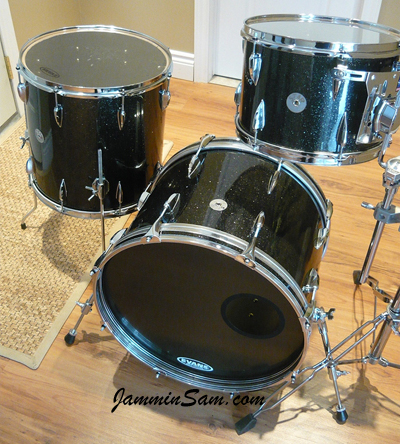 Photo of Andrew Stoddart's custom kit with True Black Glass Glitter drum wrap