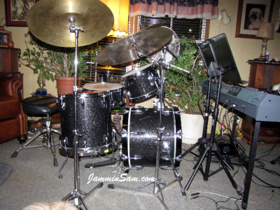 Photo of Douglas Tuckley's drums with True Black Glass Glitter drum wrap (24)
