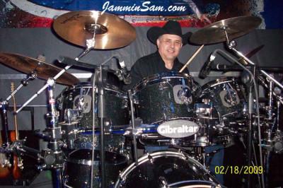 Photo of Gary Cumpian's custom drums with True Black Glass Glitter drum wrap
