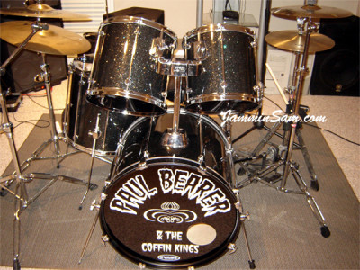 Photo of Morgan King's Mapex drums with True Black Glass Glitter drum wrap (4)