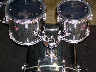 Photo of Peter Hopkins' Premier drums with True Black Glass Glitter drum wrap (1)