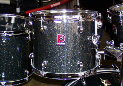 Photo of Peter Hopkins' Premier tom with True Black Glass Glitter drum wrap (2)
