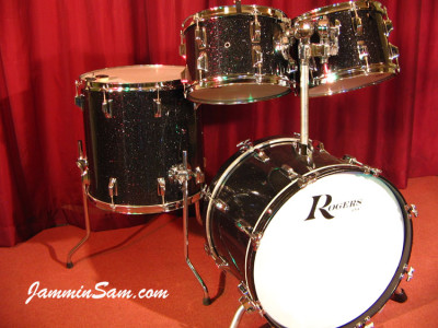 Photo of Roger Wise's Rogers drums with True Black Glass Glitter drum wrap (2)