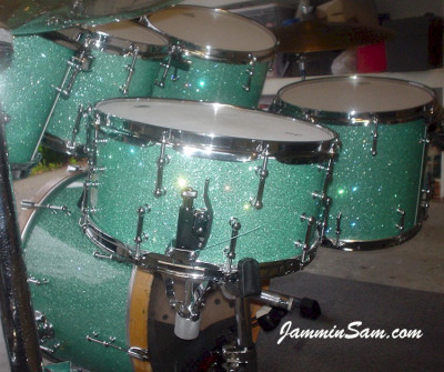 Photo of Dan Herlein's drum set with Turquoise Glass Glitter drum wrap (1)
