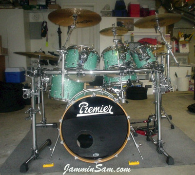 Photo of Dan Herlein's drum set with Turquoise Glass Glitter drum wrap (2)