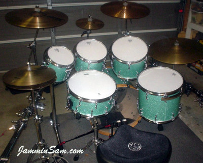 Photo of Dan Herlein's drum set with Turquoise Glass Glitter drum wrap (3)