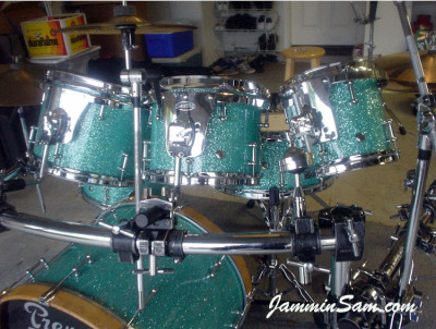 Photo of Dan Herlein's drum set with Turquoise Glass Glitter drum wrap (4)