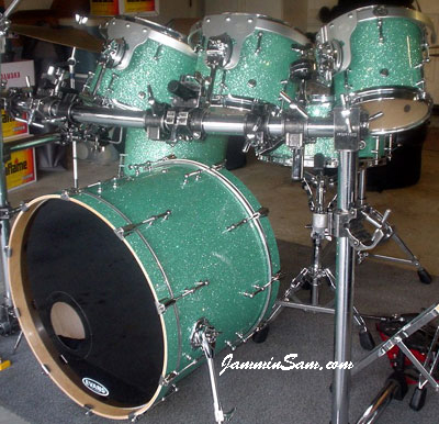 Photo of Dan Herlein's drum set with Turquoise Glass Glitter drum wrap (5)