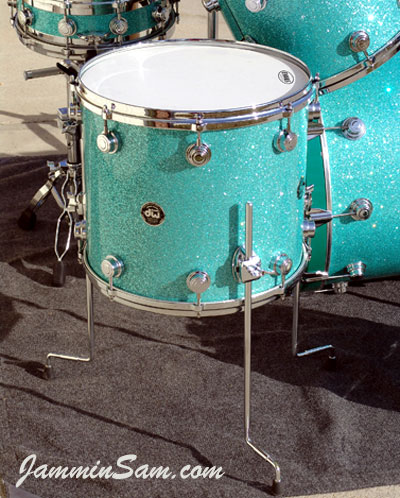 Photo of Dick Cole's drum set with Turquoise Glass Glitter drum wrap (1)