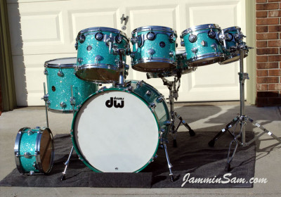 Photo of Dick Cole's drum set with Turquoise Glass Glitter drum wrap (2)