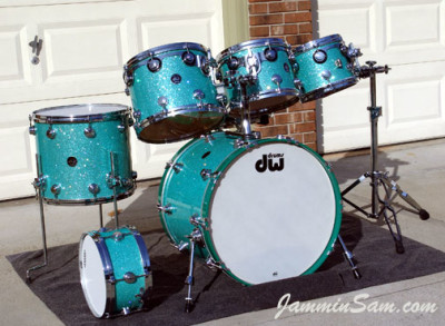 Photo of Dick Cole's drum set with Turquoise Glass Glitter drum wrap (3)