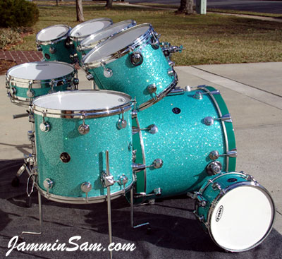 Photo of Dick Cole's drum set with Turquoise Glass Glitter drum wrap (4)