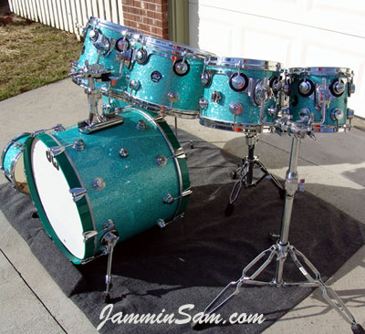 Photo of Dick Cole's drum set with Turquoise Glass Glitter drum wrap (8)