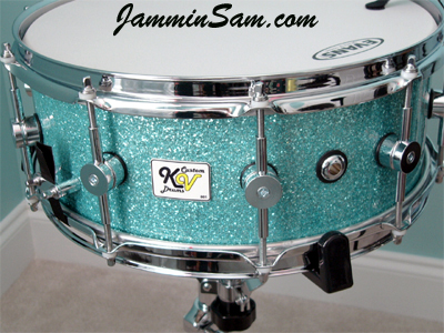 Photo of Kent vanOoyen's snare with Turquoise Glass Glitter drum wrap (1)