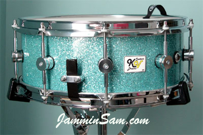 Photo of Kent vanOoyen's snare with Turquoise Glass Glitter drum wrap (2)
