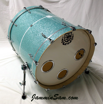 Photo of Tom Diverio's drums with Turquoise Glass Glitter drum wrap (2)