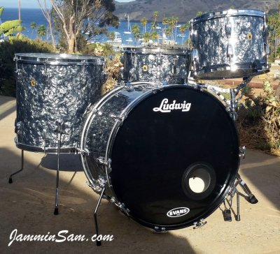 Photo of Ted McDowell's Ludwig drumset with Vintage Black Diamond Pearl drum wrap (1)