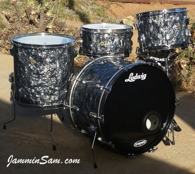 Photo of Ted McDowell's Ludwig drumset with Vintage Black Diamond Pearl drum wrap (3)