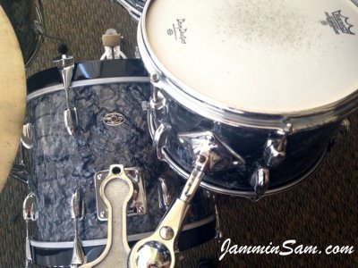 Photo of Tom Polce's Slingerland bass drum with Vintage Black Diamond Pearl drum wrap (3)