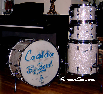 Photo of Alex Johnstone's Rogers kit with Vintage White Pearl drum wrap