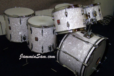 Photo of Bill Price's Premier drum kit with Vintage White Pearl drum wrap (1)