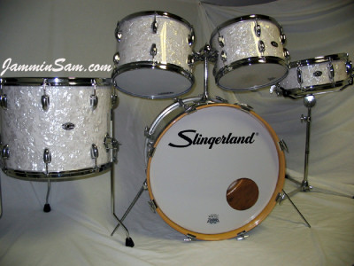 Photo of Garth Grob's Slingerland drums with Vintage White Pearl drum wrap (1)