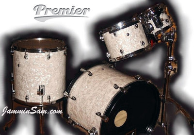 Photo of Jason Shoemaker's Premier drums with Vintage White Pearl drum wrap