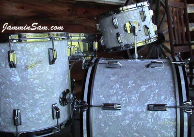 Photo of Jay Ganz's Rogers drumset with Vintage White Pearl drum wrap (3)