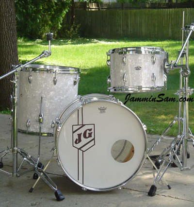 Photo of Jeff Gensterblum's Slingerland drum kit with Vintage White Pearl drum wrap