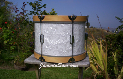 Photo of Justin Boncore's snare drum with Vintage White Pearl drum wrap