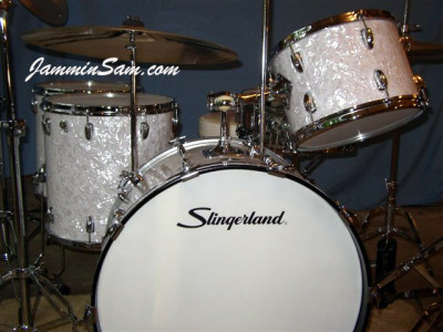 Photo of Ken Bogley's Slingerland Drums with Vintage White Pearl drum wrap (4)
