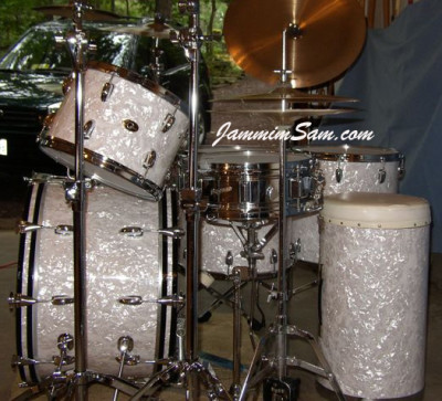 Photo of Ken Bogley's Slingerland Drums with Vintage White Pearl drum wrap (6)