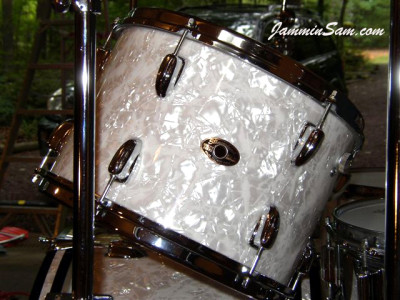Photo of Ken Bogley's Slingerland Drums with Vintage White Pearl drum wrap (8)