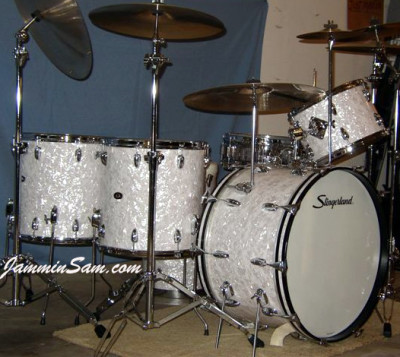 Photo of Ken Bogley's Slingerland Drums with Vintage White Pearl drum wrap (9)