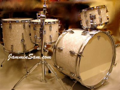 Photo of Patxi Lebrancon's Maxtone drums with Vintage White Pearl drum wrap