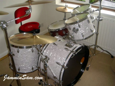 Photo of Paul Dackombe's Slingerland drum set with Vintage White Pearl drum wrap (2)