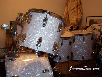 Photo of Tim Pouliot's Ludwig drum set with Vintage White Pearl drum wrap (2)