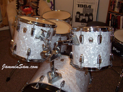 Photo of Tim Pouliot's Ludwig drum set with Vintage White Pearl drum wrap (6)