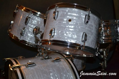 Photo of John Kreimer's drums with Vintage Marine Pearl drum wrap 8