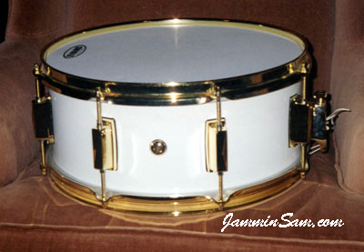 Photo of Jack Kegley's snare drum with JS Hi Gloss White drum wrap