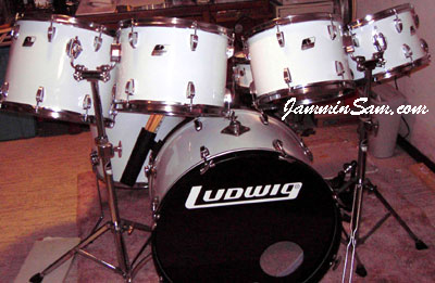 Photo of John Horton's Ludwig drums with JS Hi Gloss White drum wrap